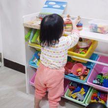 DELSUN九格玩具收納架 馬卡龍粉,小孩收拿玩具好方便