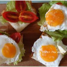 冷凍蛋做的!迷你荷包蛋開面三明治
