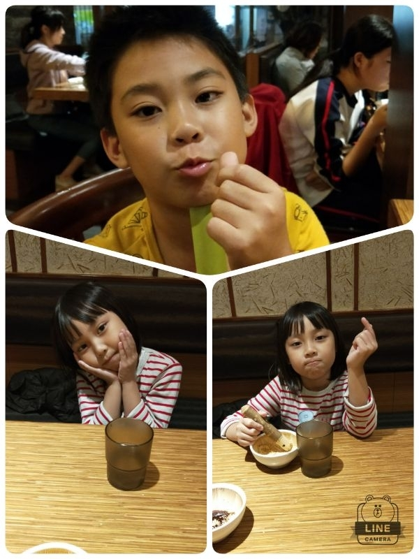 晩上帶了二兄妹 去~芝麻柚子~吃晩餐 晴晴之前—直說想吃炸豬排 今晚就帶來吃囉~ 炸豬排~趁熱吃~好吃~ 晴晴說~ 吃得好飽~