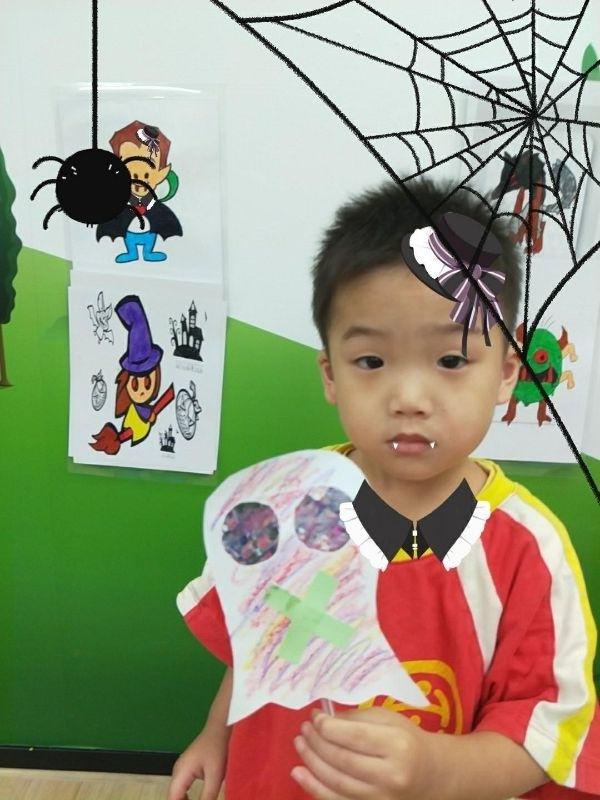 兒子自己畫的萬聖節作品 鬼~恐怖嗎? 呵呵~ #媽媽play搞怪創意無限