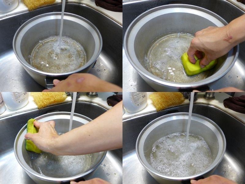 電鍋用久了都會形成難以清洗的黑色污垢, 這時候就會超頭痛的,不敢再繼續使用。 我的清潔祕方就是用幾顆切開的檸檬(黃的也可以), 加水(約8分滿)放進電鍋裡一起加熱煮沸, 煮1個小時候就可以拔掉插頭了, 這時候要繼續浸泡檸檬(我都去做其他事完再回來洗鍋子) 最後再用菜瓜布刷一刷就可以輕鬆去除黑色污垢囉~ #除舊布新