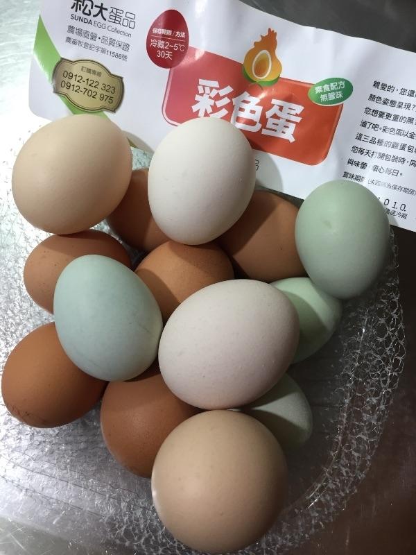 一次滿足所有願望的概念啊~ #彩色蛋一籃14顆100元 #有少見的烏骨雞蛋小小微綠