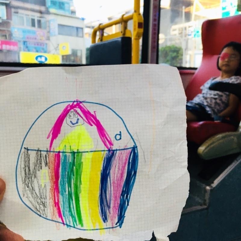 大女鵝在幼兒園畫給我的父親節圖畫,她說是王子搭馬車。 喂,王子的頭髮也太長了吧。