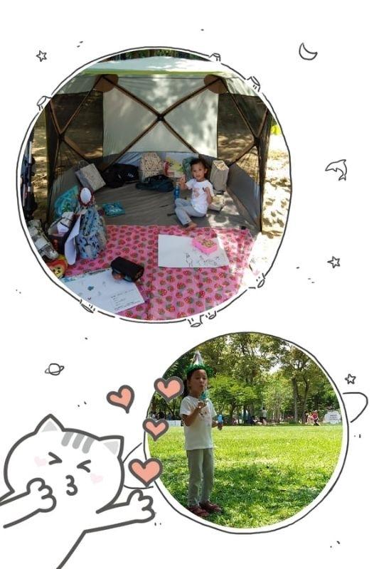 放暑假囉~帶著寶貝們到處去野餐,畫遍各處美景 #暑假生活 #爸媽準備的野餐道具超齊全的