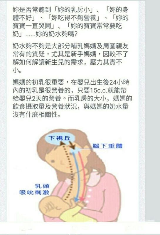 媽媽們餵母奶 母奶達到供需平衡是媽媽們希望的 除了多親餵 寶貝喝完母奶就排空 泌乳激素《腦下垂體分泌的荷爾蒙》高峰期為凌晨 一點到三點 建議餵母奶的媽媽們半夜排空再休息 乳腺暢通 自然供需平衡 常見三種塞住奶水的情況 石頭奶 乳頭爆青筋 乳頭會乾會硬 這種媽媽是親餵或寶貝含乳姿勢不正確 冷敷 利用高麗菜冷藏20分鐘休息20分鐘 敷到 乳房組織消腫 避開乳頭乳暈 《高麗菜不重複》 注意 發奶的飲品及餐暫時不要 補充維他命C 深層奶 表皮鬆軟 底層緊實 這種媽媽是在寶貝喝完奶排空不完全 溫敷 用約40度溫水讓脂肪奶塊溫熱溶解 無漲奶 乳頭敏感度變弱 乳頭乳暈表皮鬆軟 這種媽媽發奶飲品要增加到3000CC 餵奶期間盡量不穿內衣 讓胸部自然垂放 聽自己喜歡的音樂 乳房護理《按摩》大約10分鐘左右 時間少於10分鐘沒有效果 時間過長反而乳酸堆損而反向水腫 健康飲品 健康飲品 健康飲品 我的飲品可以配合產後發奶飲用 絕對不加糖 絕對沒防腐劑 絕對手工 需要訂購 請私訊我