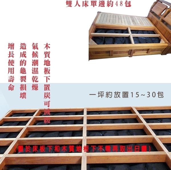 →→炭包詳細介紹 可服務配合對象:居家使用、裝潢業,使用屋內可放置於隔板間、木質地板、床下...等 用量:一坪約15~60公斤;並要先行環境評估,再做適當配置。 依需求分為: 利用「備長炭」的遠紅外線效果,增強住宅能量使其成為適合人居住的「陽宅」。 日本東京大學木質研究所 石原 教授研究發現,「備長炭」的高導電性具有強力的電磁波遮蔽力,使人體不受影響。 在古日本的和室地板多半會放木炭來調溼;另一方面還能清淨空氣,並提升氣能。 遠紅外線 : 遠紅外線波長約為4﹘50微米之間,能使身體感到舒暢,改善睡眠環境品質。 負離子:它能與環境中的正電子中和,使其物質不易「氧化」。氧化會使物質容易腐壞, 缺少生命力,而人體的氧化也就是老化,應注意環境負離子的補給。 鋪地板用炭體需注意不可使用碎小炭體,需使用無鹽分塊狀炭體。 專業用炭優勢: 夏季潮濕冬季乾燥,木板材開始變形,是造成木質地板損壞的原因之ㄧ 專業的用炭可保護板材 活性碳放於夾板中主要是吸附少許建材中的甲醛甲苯等;所以如果是針對空氣防治,則不放置於夾板中。